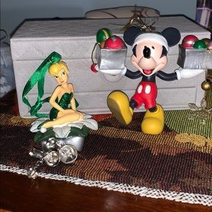 DISNEY TINKERBELL N MICKEY MOUSE CHRISTMAS ORNAMEN